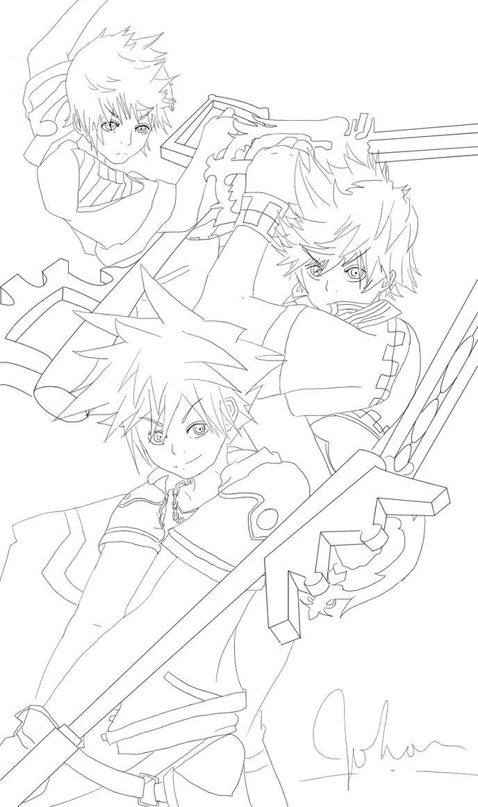 Kingdom Hearts Lineart : Kingdom hearts line art by frat burger on deviantart