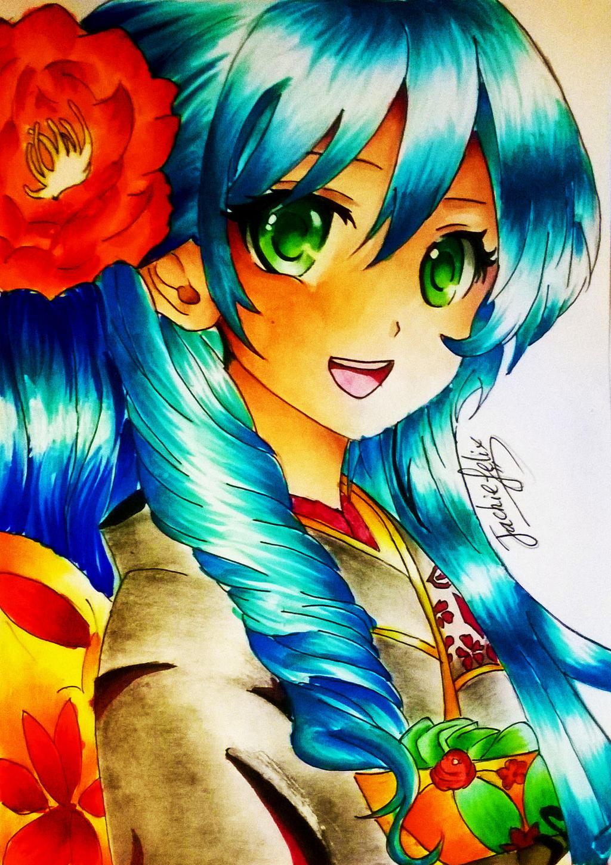 Anime kimono girl by jackiefelixwei