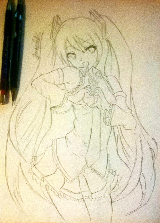 Hatsune Miku sketch by jackiefelixwei