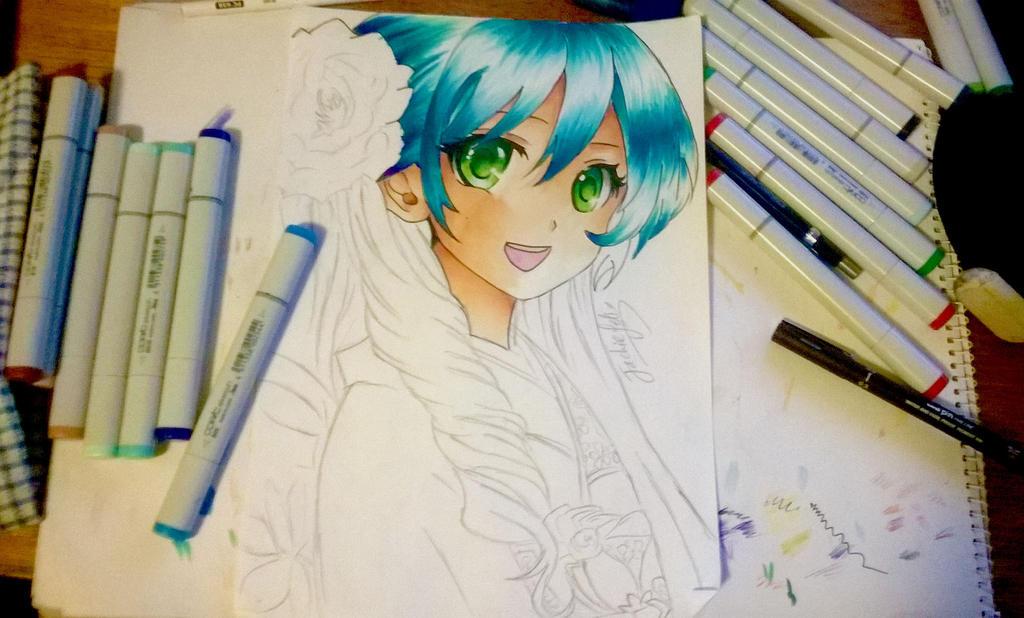 Anime kimono girl WIP by jackiefelixwei