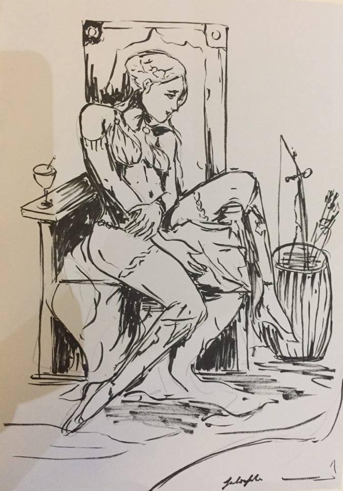Fantasy inking by Jackiefelixart