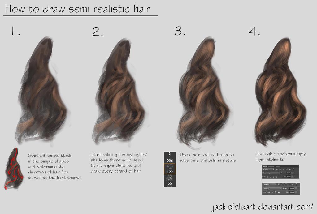 How to draw semi realistic hair tutorial by Jackiefelixart