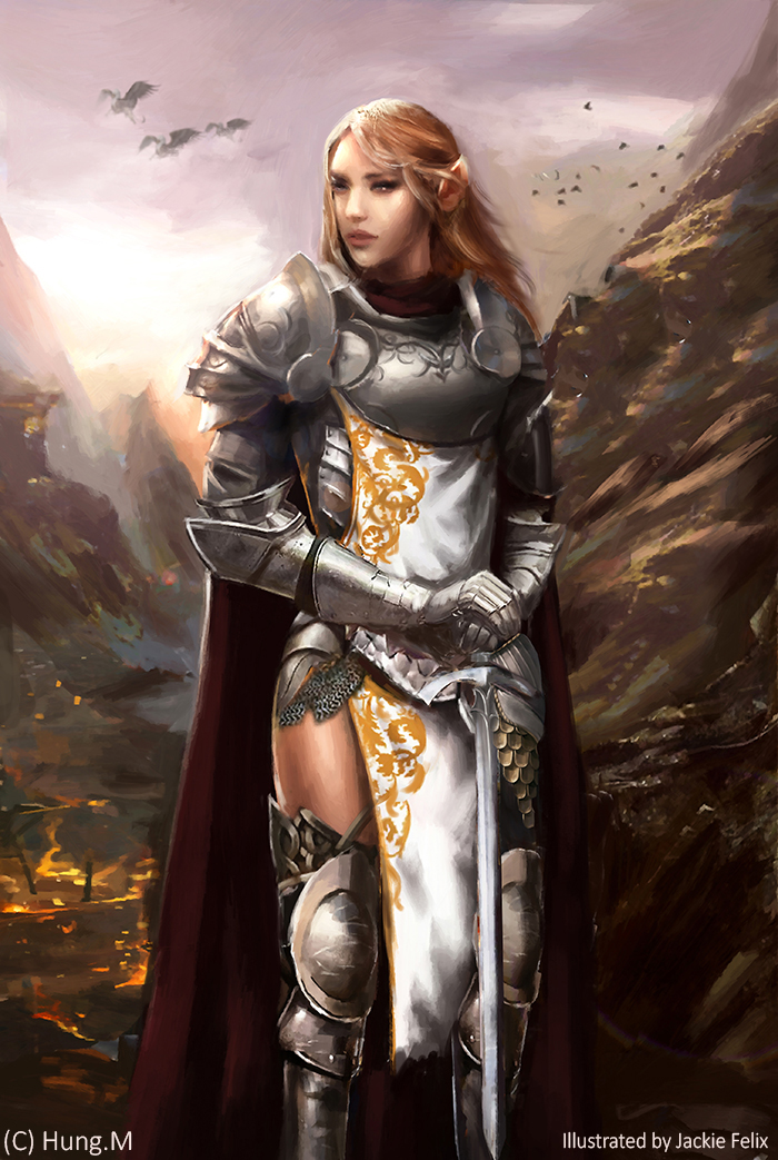 Elven knight (Commission) by Jackiefelixart