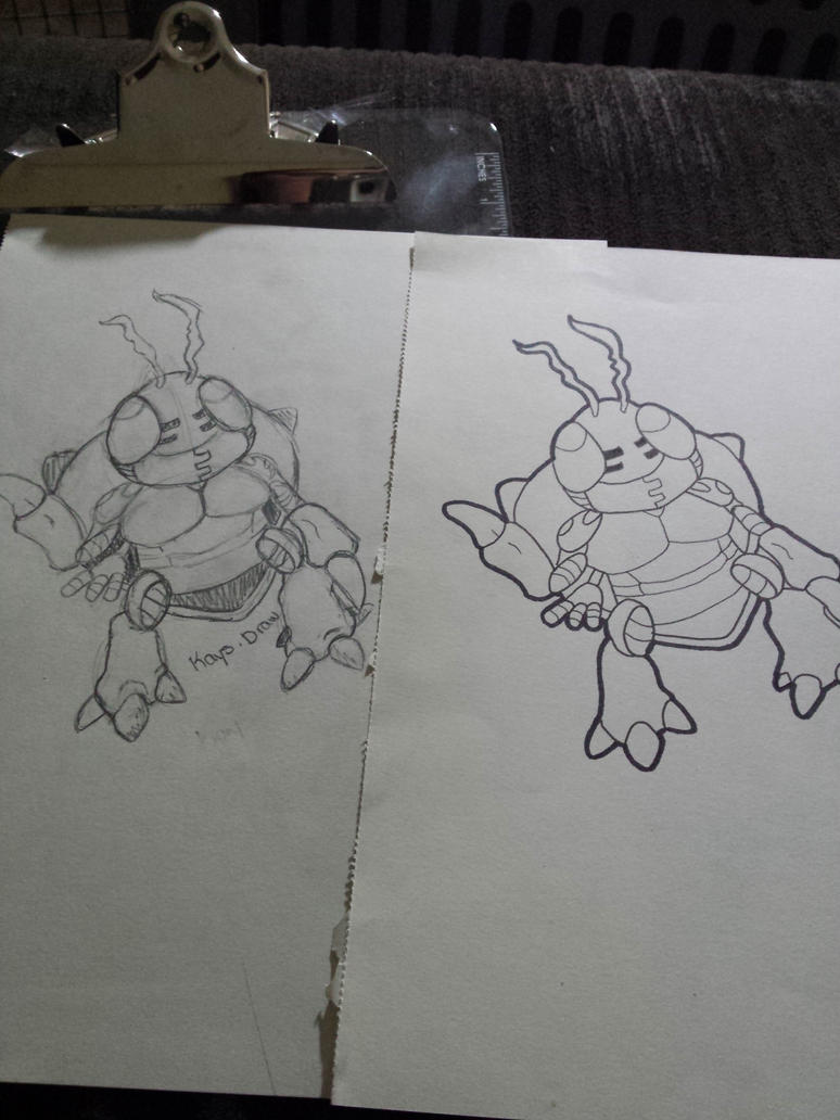 sketch vs lineart tentomon :) by kaykay18tink