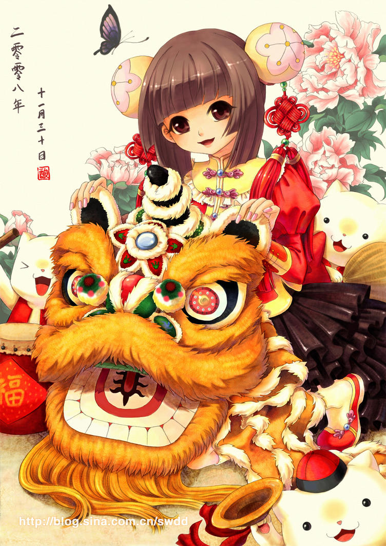 china lion dance by swdd-cat