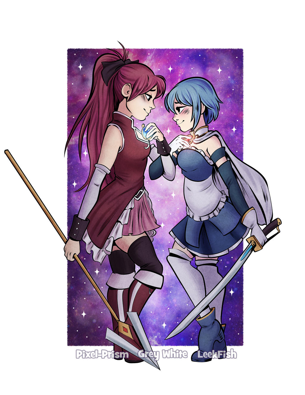 Collaboration Commission: Kyoko and Sayaka by LeekFish