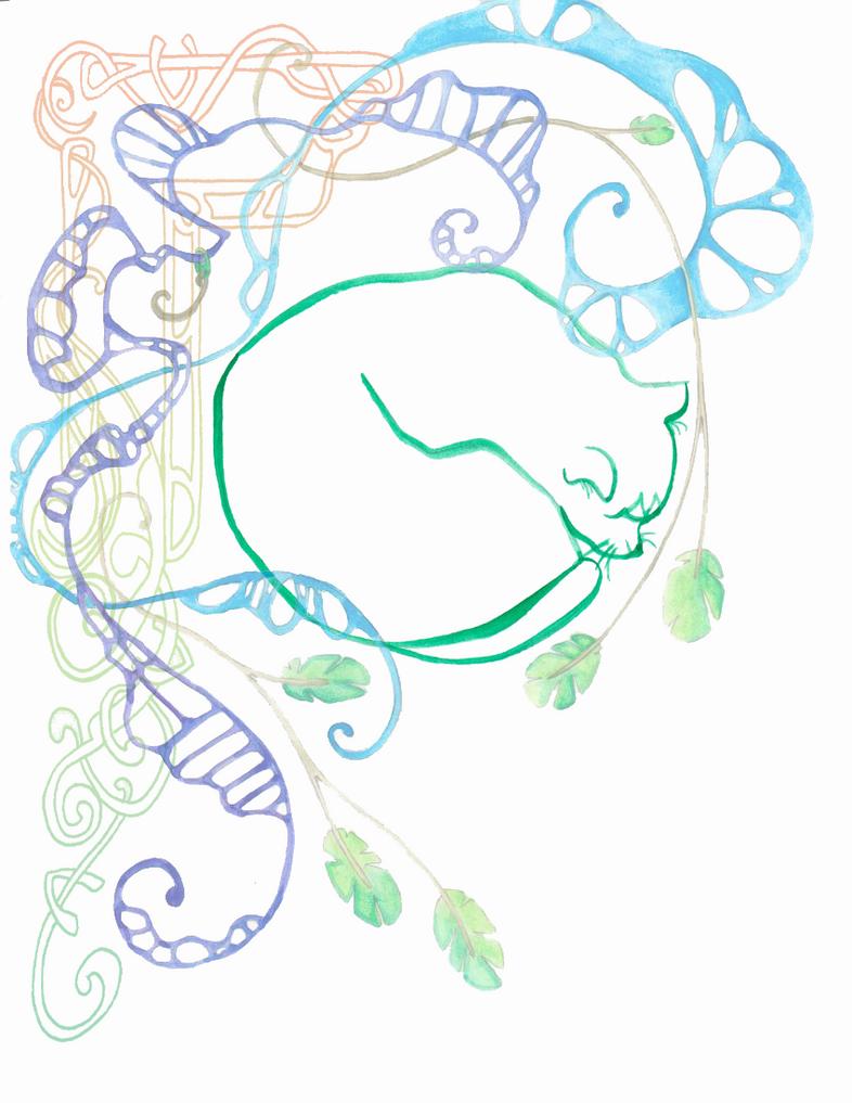 Watery Leaves Kitty Copy by artbybluedaisy