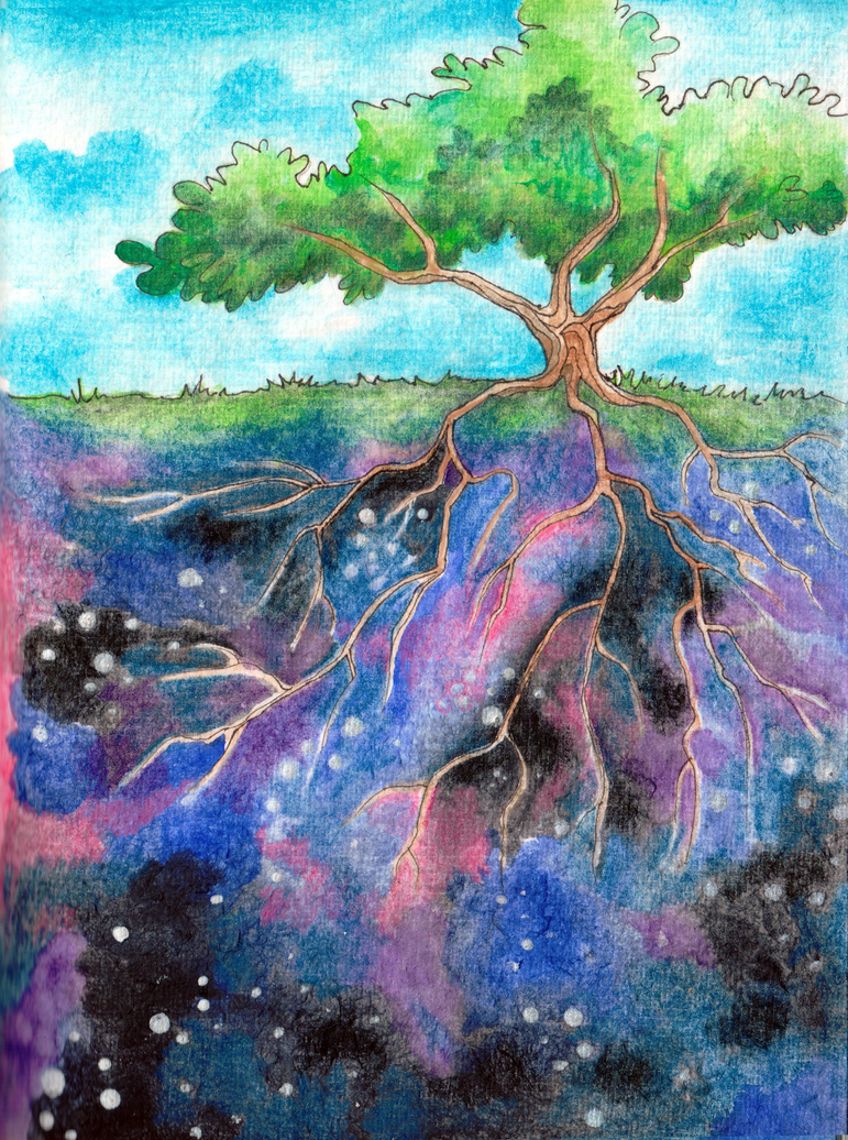 Tree that drinks the Universe by artbybluedaisy