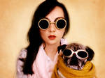 A steampunk and her pug