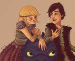 Hiccup and Astrid and Toothless too
