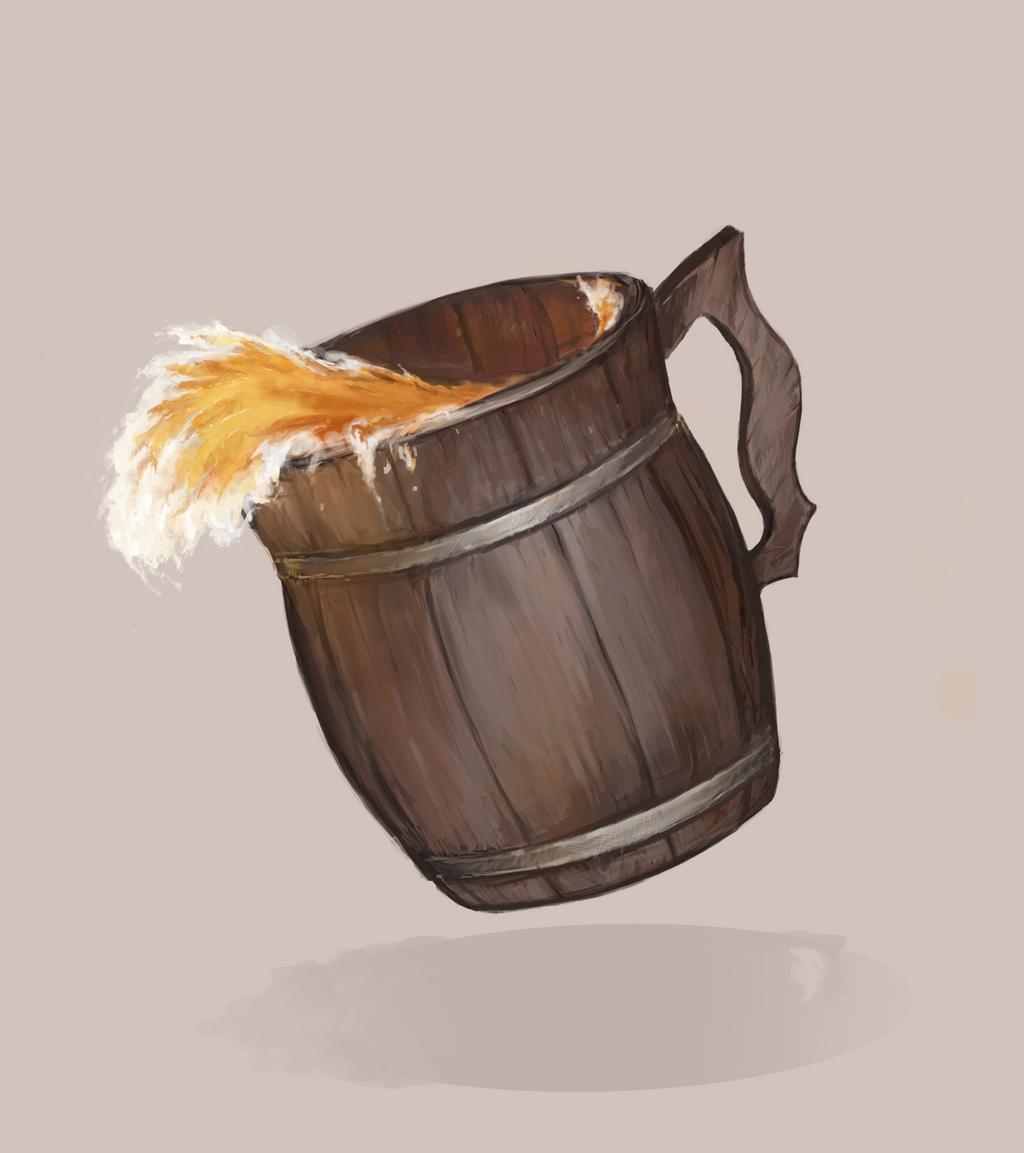 Beer in a wooden mug by Stigerea