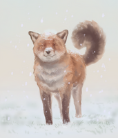 A fox first snow[+speedpaint] by Stigerea