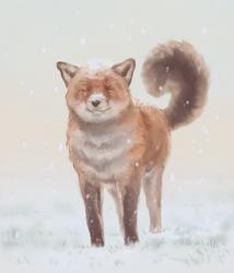 A fox first snow[+speedpaint]