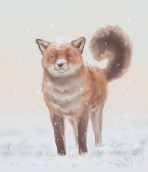 A fox first snow[+speedpaint]