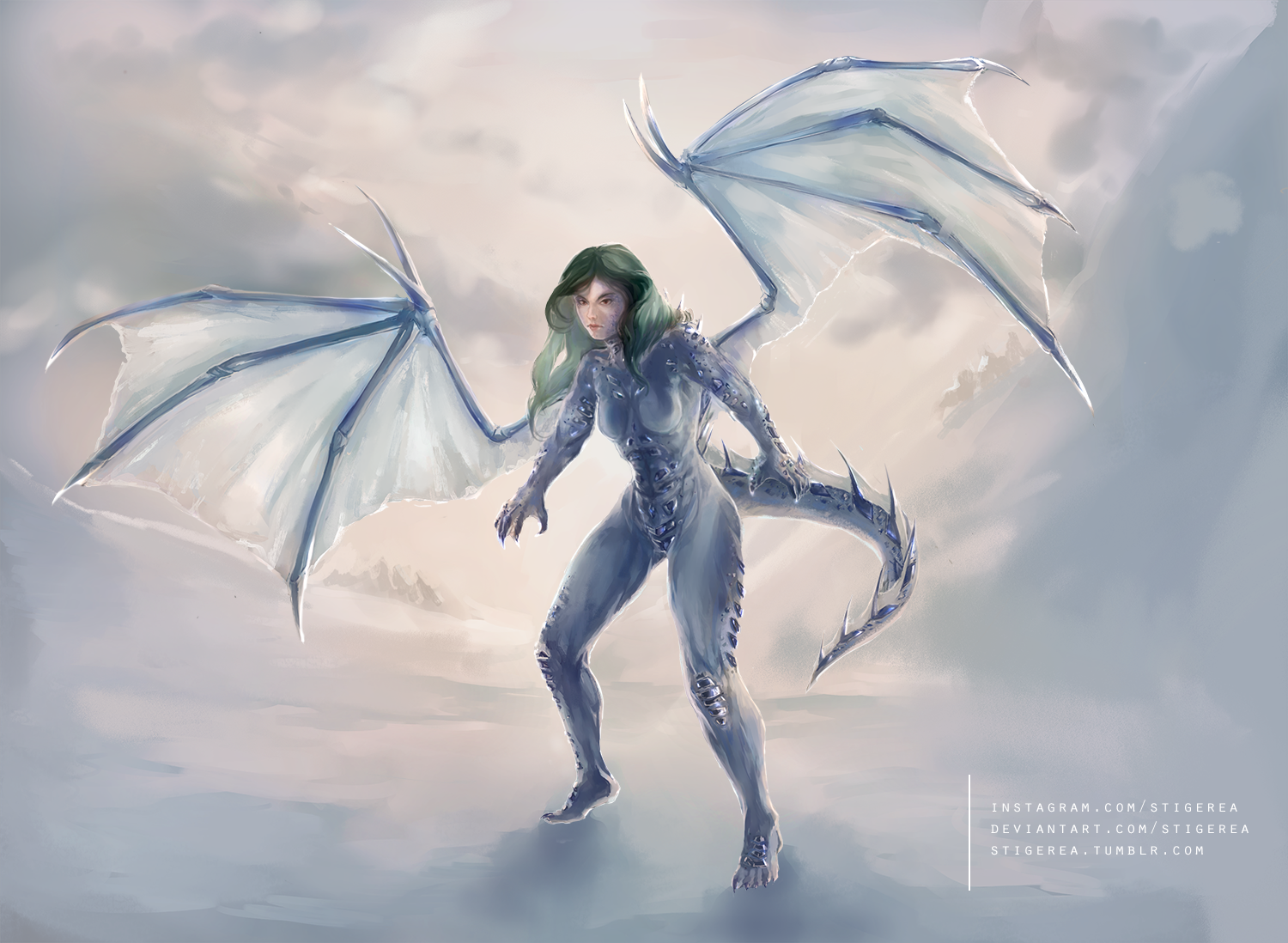 Hiris, Dragon Lady - Commission rendering by Stigerea