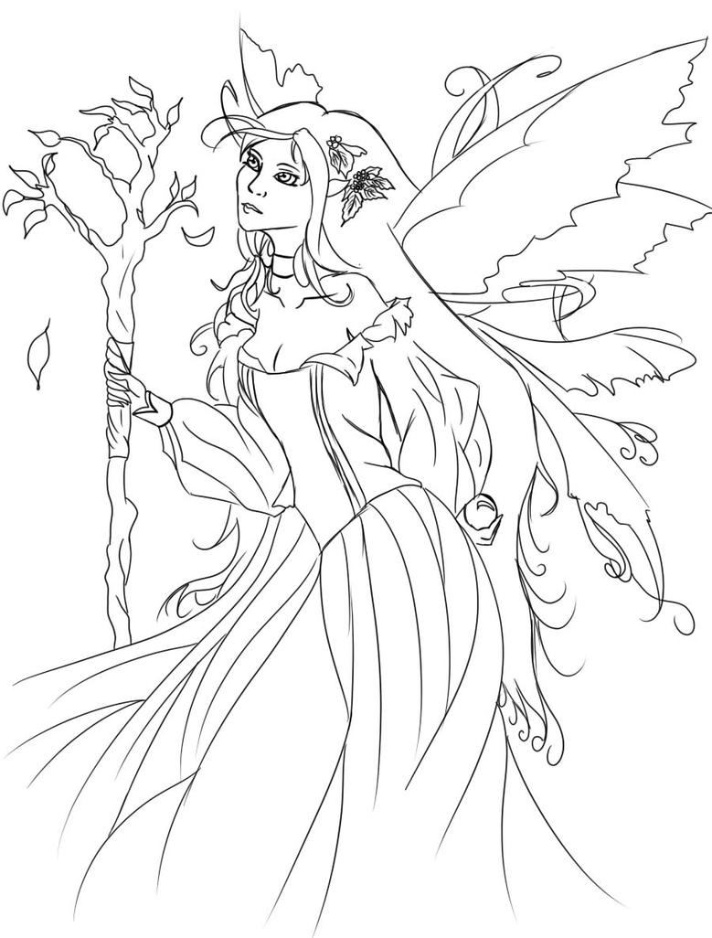 Line Drawing Queen : Queen mab line art by muriconorie on deviantart