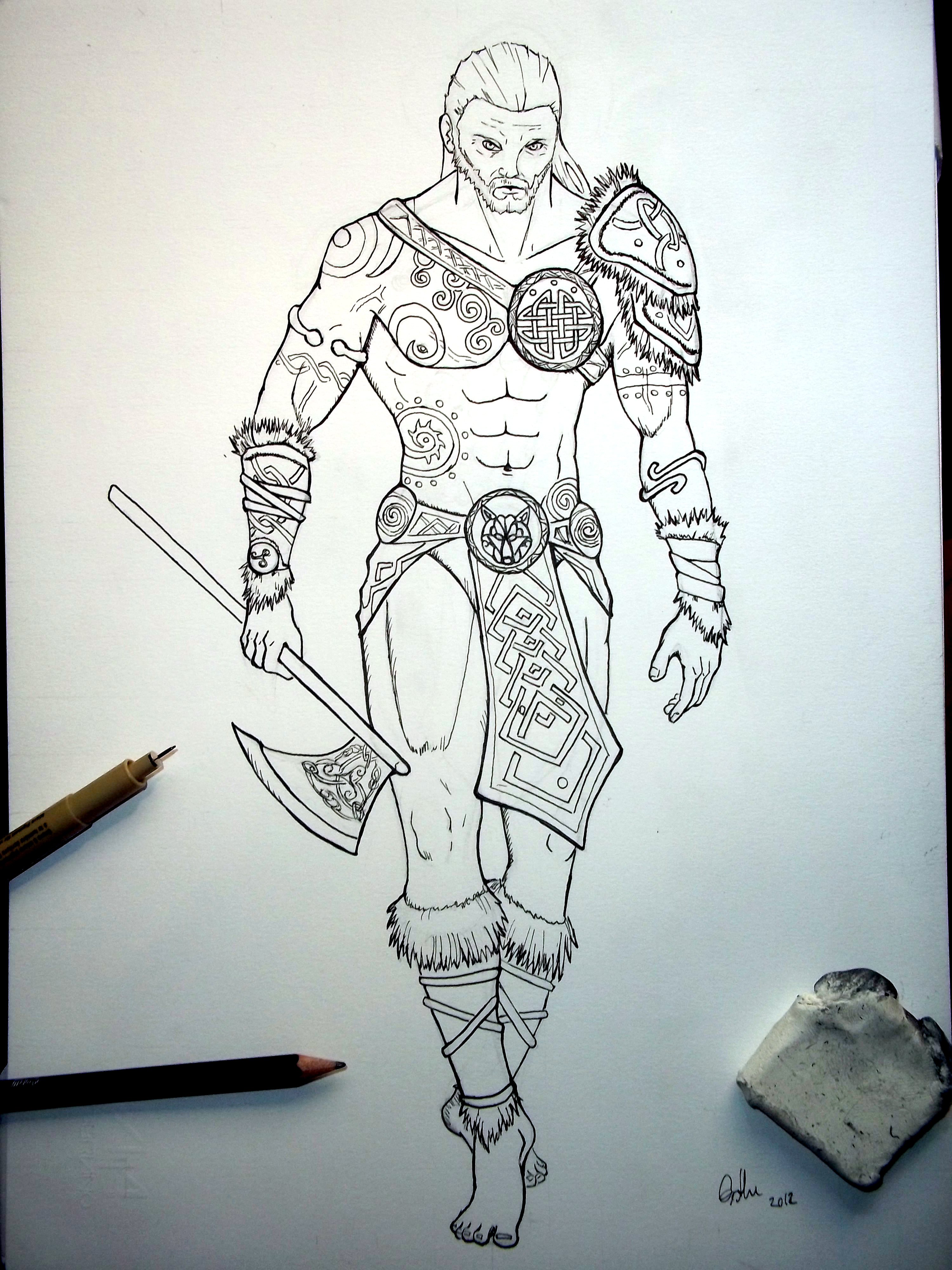 how to draw a celtic warrior