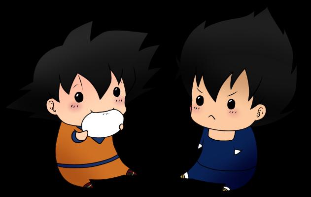 Chibi Vegeta and Goku by leeniej