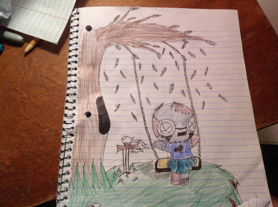 Swinging in a tree by puppystar59