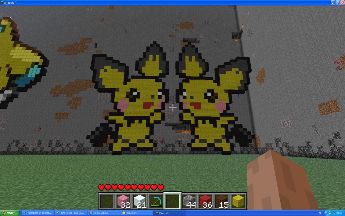 Pichu Twins On Minecraft by Miccopicco