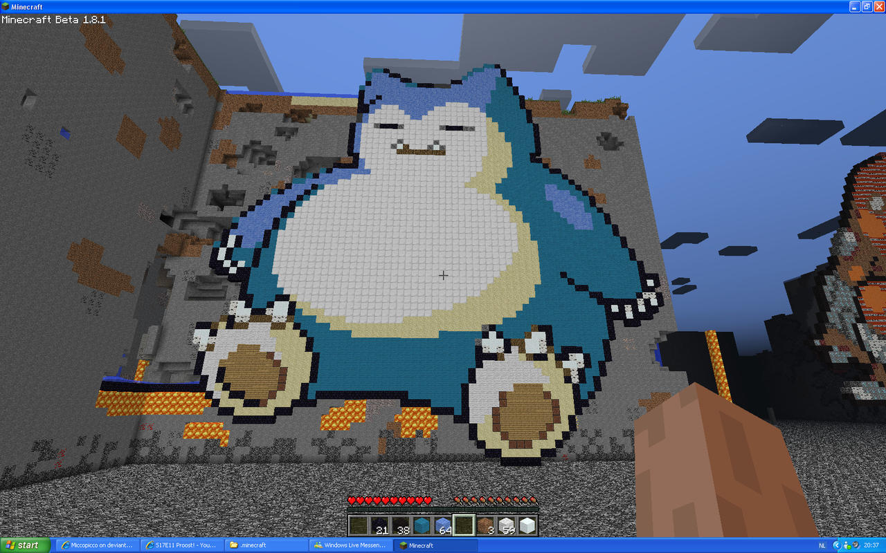 Snorlax On Minecraft by Miccopicco