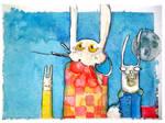 Happy three Bunnies