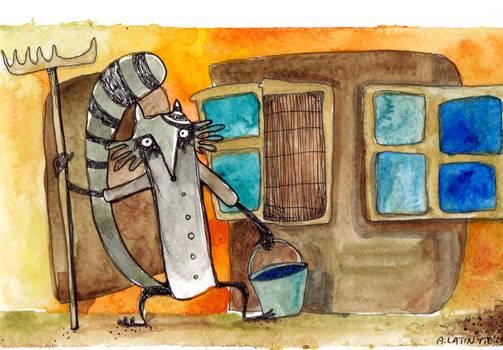 Raccoon the janitor