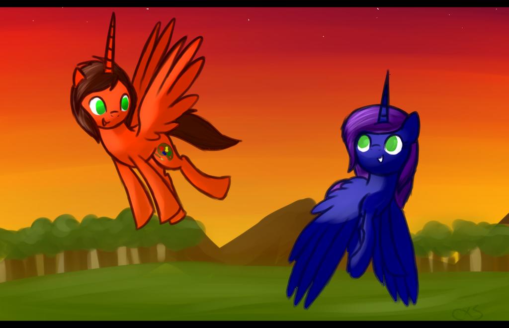 Sunset flight [Comission] by CrashXSpyro