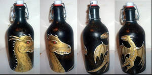 Golden dragon in the bottle by Frollino