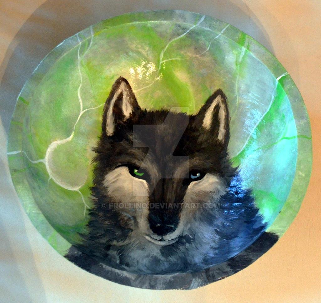 Lobo ojo azul verde by Frollino