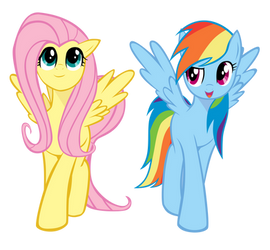 Rainbow Dash and Fluttershy are walking (Coloured) by kas92