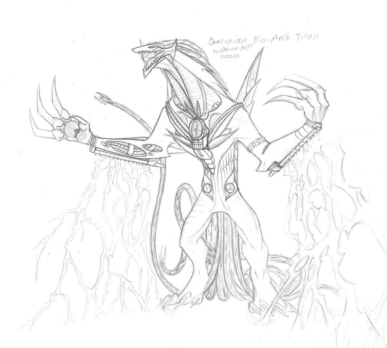 Draconian Bio-mech Titan by LordNagaetros