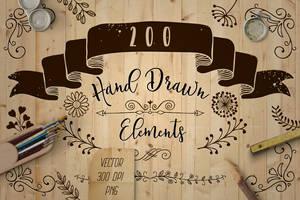 200 Decorative Elements Vector, PNG