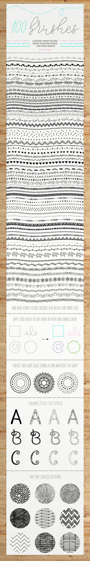 100 Pattern Brushes+9 Graphic Styles+Free Patterns by HelgaHelgy