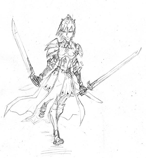 Dual sword girl sketch by cleife