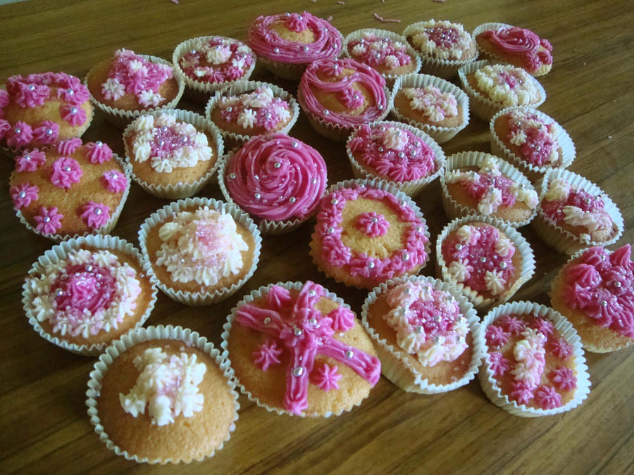 Pink Cup Cakes by Red--Roses