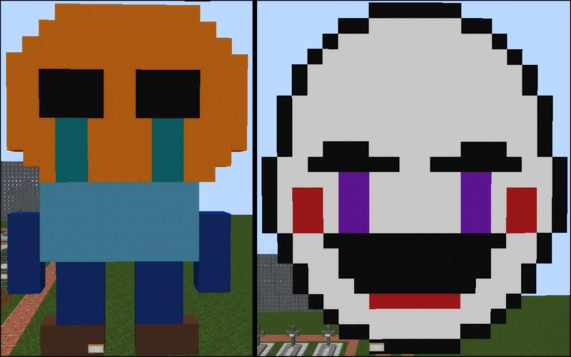 Group of Minecraft Fnaf Pixel Art