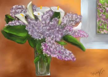 Lirios y lilas en mi cocina by IrysArt