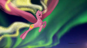 MLP OC Aurora Borealis in flight