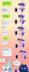 MLP Twilight and Celestia auto-correct comic by snakehands