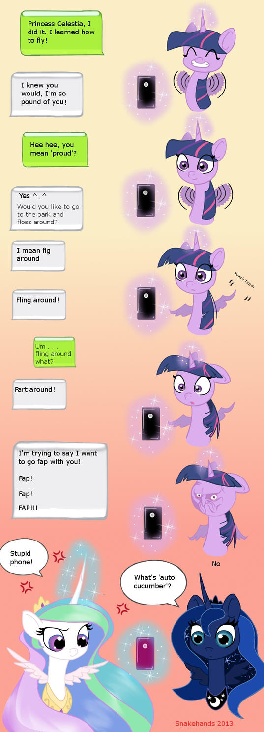 MLP Twilight and Celestia auto-correct comic by snakehands