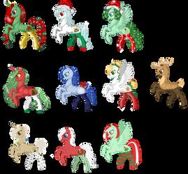 Open Christmas ponies in socks adoptables