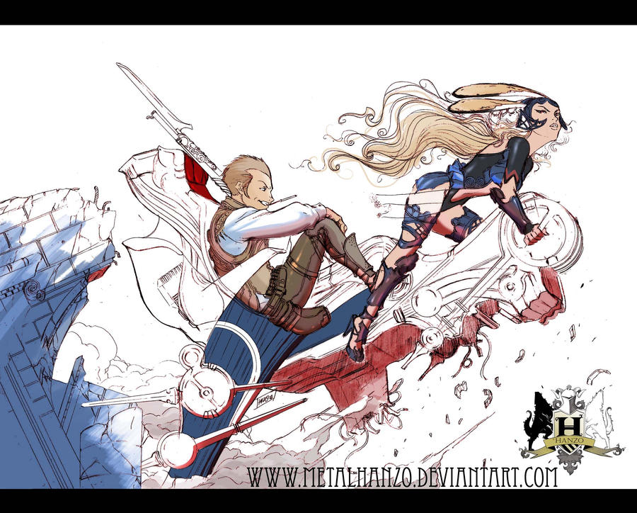 Balthier and Fran Escape by HeavyMetalHanzo