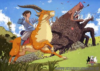 Ashitaka Versus The Demon Boar by HeavyMetalHanzo