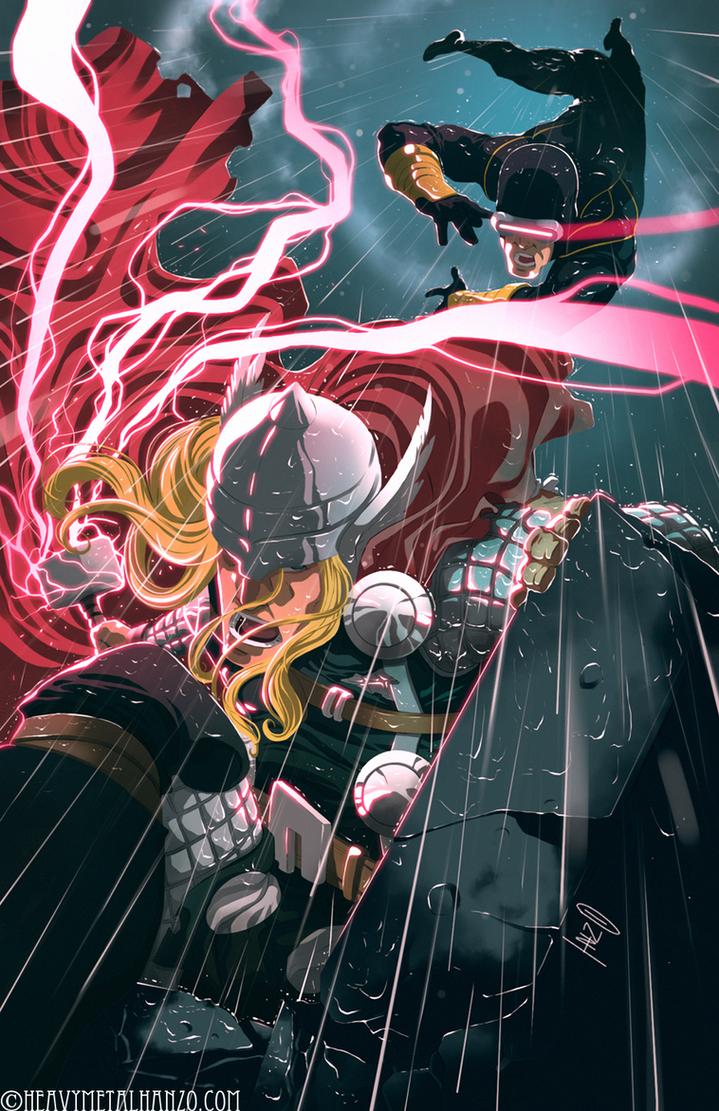 Thor Vs Cyclops by HeavyMetalHanzo