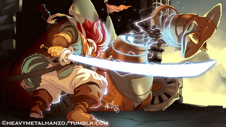Chrono Trigger-Crono Versus The Dragon Tank by HeavyMetalHanzo