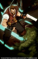 Burton-The Bearded Badass and his trusty Python by HeavyMetalHanzo