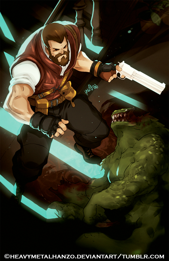 Burton-The Bearded Badass and his trusty Python by HeavyMetalHanzo
