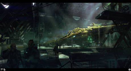 Ship in hanger by bradwright