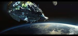 Cargo Ship in orbit by bradwright